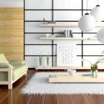Дизайн сучасної вітальні в японському стилі фото