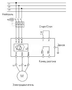 Приклад схеми підключення пристрою плавного пуску електродвигуна