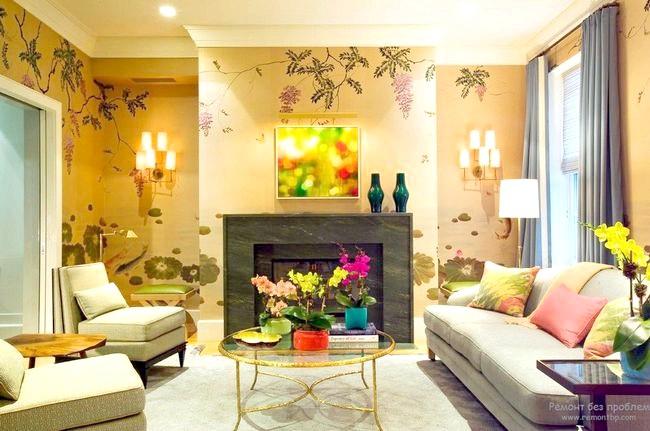 Фото - Модні шпалери для інтер'єру сучасної вітальні