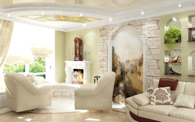 Фото - Застосування настінної фрески в інтер'єрі - фото оригінальних рішень