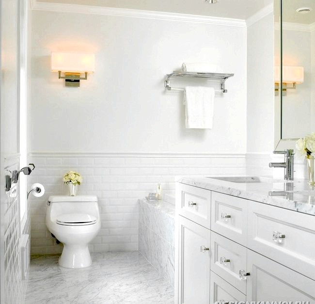 Фото - Дизайн ванної кімнати білого кольору - 20 фото