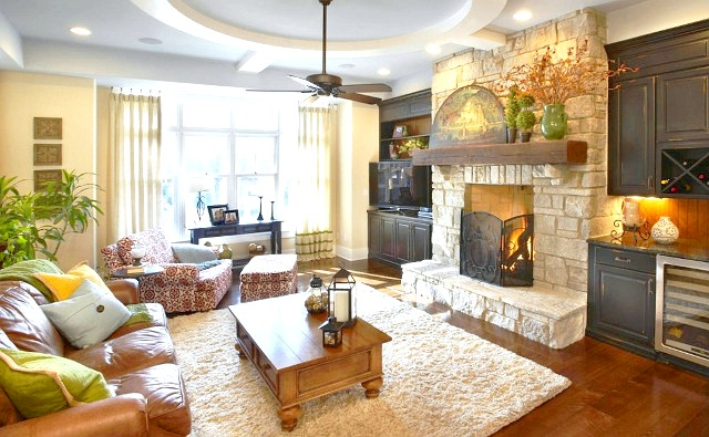Фото - Оформлення дизайну вітальні з каміном в різних стилях
