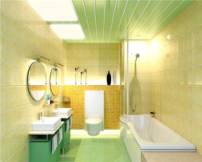 Фото - Стеля у ванній кімнаті з пластикових панелей: