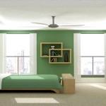 Монохромна зелена спальня