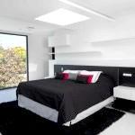 Чорно-біла спальня в стилі мінімалізм