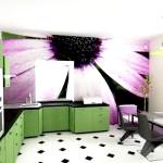 Фіолетові квіти на фотошпалерах в кухні