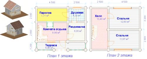 Плани поверхів лазні