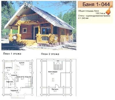 Схема двоповерхової лазні площею 105,3 м2