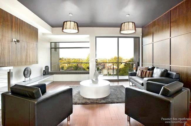 Фото - Сучасний дизайн стелі у вітальні