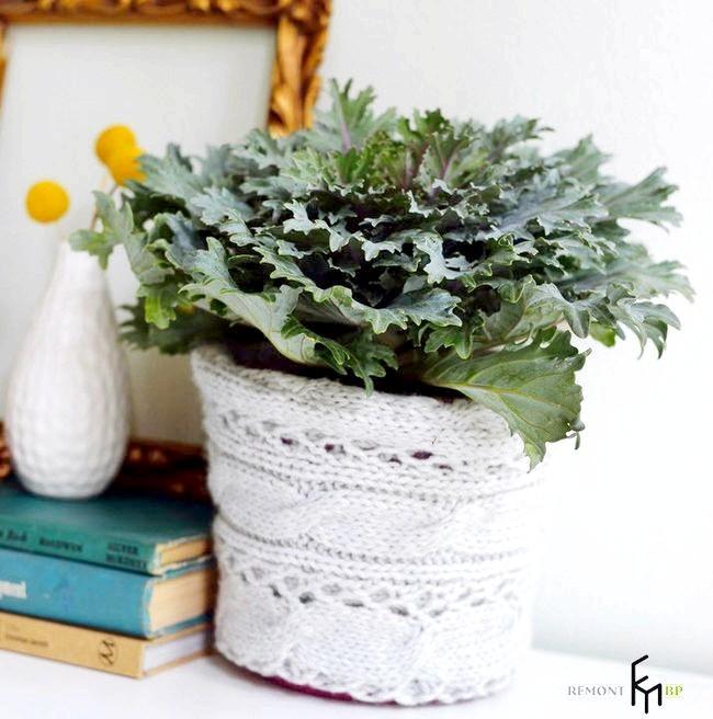 Фото - В'язаний декор своїми руками для квіткового кашпо