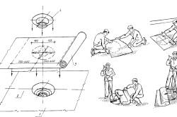 Схема розкрою і наклейки тканини або нетканкі при обклеюванні і герметизації водостічної воронка